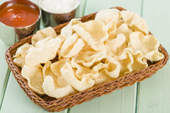 Poppadoms. Fried mini  in a basket. Served with chili sauce and yoghurt raita Stock Photography
