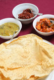 Poppadoms with indian pickles Royalty Free Stock Photos