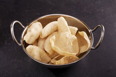 Poppadums in an Indian Balti Dish Stock Image