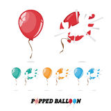 Popped balloon -. Popped balloon. cartoon style -  illustration Royalty Free Stock Image