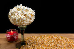 Popped Popcorn In Long Stem Glass Stock Photo