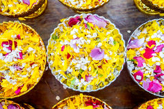 Popped rice with petal flower Royalty Free Stock Images