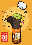 Popped Up Snake Nut Can for Fools' Day, Vector Illustration Stock Image