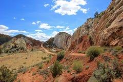 Poppel Canyon Road, i Escalante för storslagen trappuppgång den nationella monumentet, Utah, Förenta staterna Arkivfoto