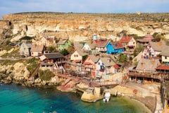 Poppeye村庄,马耳他 著名影片集合和旅游胜地o 免版税图库摄影