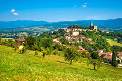 Poppi medieval village panoramic view. Casentino Arezzo, Tuscany stock photography