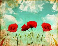 Poppies. On a vintage blue sky Royalty Free Stock Image