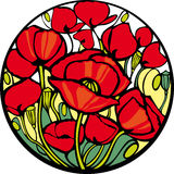 Poppies. There are many red poppies in the circle Royalty Free Stock Photography