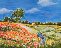Poppies. Beautiful painting of a field of poppies Stock Images