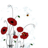 Poppies and bees. Summer background Royalty Free Stock Photography