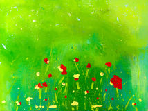 Poppies on canvas. Acrylic on canvas, abstract poppies on green background Stock Photos