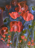 Poppies in cheerful bright colours. The dabbing technique gives a soft focus effect due to the altered surface roughness of the paper. GVP1526 vector illustration