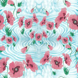 Poppies - flowers, leaves and buds. Drawing on rice paper. Seamless pattern. Medicinal, perfumery and cosmetic plants. Wallpaper Royalty Free Stock Images