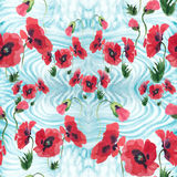 Poppies - flowers, leaves and buds. Drawing on rice paper. Seamless pattern. Royalty Free Stock Photography