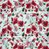 Poppies - flowers, leaves and buds. Drawing on rice paper. Seamless pattern. Stock Images