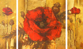Poppies handmade painting. Poppies flowers handmade oil painting on canvas Stock Photos