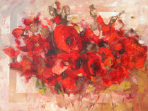 Poppies handmade painting. Poppy flowers handmade oil  painting on canvas Stock Photography