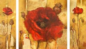 Poppies handmade painting Stock Image