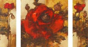 Poppies handmade painting Stock Photos