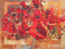Poppies handmade painting. Poppy flowers handmade oil  painting on canvas Royalty Free Stock Images