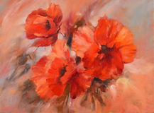 Poppies handmade painting. Poppy flowers handmade oil  painting on canvas Royalty Free Stock Image