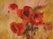 Poppies handmade painting. Poppy flowers handmade oil  painting on canvas Stock Photo