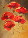 Poppies handmade painting. Poppy flowers handmade oil  painting on canvas Stock Photos