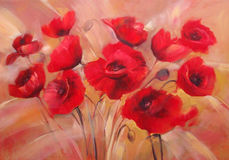 Poppies handmade painting. Red poppies handmade oil painting on canvas Royalty Free Stock Images