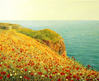 Poppies on Kaliakra. An oil painting on canvas of a beautiful seascape with vivid red poppies at the Black sea coast in the warm light of the sunset Stock Image
