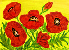 Poppies, oil painting Stock Image
