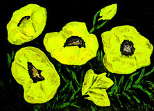 Poppies, oil painting Stock Photos