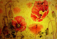 Poppies on the old grunge texture Stock Photography