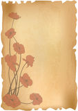 Poppies on old paper Stock Photography