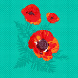 Poppies pop art card Stock Photography