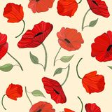Poppies Red and Remembered Repeat Seamless Pattern Background Vector stock illustration