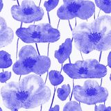 Poppies seamless pattern blue stock illustration
