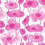 Poppies seamless pattern pink stock illustration