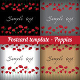 Poppies. Set of templates for postcards Royalty Free Stock Photo