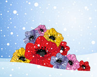 Poppies and snow Royalty Free Stock Images