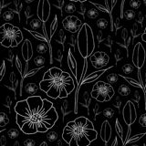 Poppies and Tulips on Black Background-Monochromatic Flowers seamles repeat patternBackground in Black and white. Poppies and Tulips on Black Background stock illustration