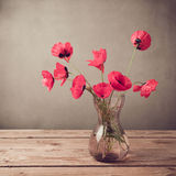 Poppies in vase over vintage background Stock Images