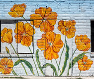 Poppies on a wall Royalty Free Stock Photos