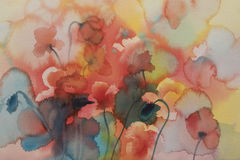 Poppies watercolor background unfinished Royalty Free Stock Photography