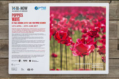 Poppies Wave Information Sign. SOUTHEND-ON-SEA, UK - APRIL 16TH 2017: An information sign about the Poppies Wave installation by Paul Cummins and Tom Piper on royalty free stock images