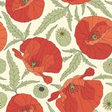 Poppies. On a yellow background in seamless pattern Royalty Free Stock Photo