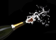 Popping champagne cork. Classic champagne bottle with popping cork background Royalty Free Stock Photography