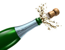 Popping the Cork. Champagne with splash popping the cork and explosion as a symbol of celebration and party happiness for an important occasion like New year eve Stock Photography