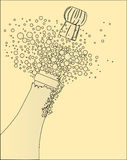Popping the Cork. Champagne bottle being opened with froth and bubbles Royalty Free Stock Photography