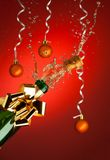 Popping cork from Champaign bottle Stock Photos