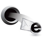 Popping hole with email icon Stock Photos